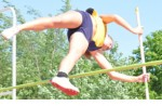 GRAVITY ISSUES: Oxford's Sarah Hildebrandt finished in a four-way tite for first in the pole vault event at Friday's Oakland County Track and Field Championships. Staff Photo | Dan Stickradt