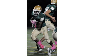 LOOKING FOR SPACE: Pontiac Notre Dame Prep junior Jermaih Johnson will be the featured back for the Fighting Irish this season. Courtesy Photo | Notre Dame Prep Football, www.http://fightingirishfootball.webs.com/