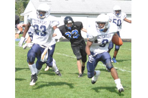 LEADING THE WAY: Troy Christian Leadership Academy senior Emmanuel Swiggins should be the featured running back for the Defenders this season. File Photo | Dan Stickradt