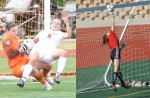 IN ACTION: Rochester's Stephanie Heber (left in orange) and Alison Holland (in red) have emerged as two of Michigan's top goalkeepers during their prep careers and hope to lead their respective teams to the Division 1 Final Four as seniors.