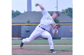 BRINGING SOME HEAT: Clarkston senior right-hander David Steward pitched a complete game seven-hiotter Tuesday in leading the Wolves past Brighton 4-1 in the Division 1 state quarterfinals. Staff Photo | Dan Stickradt