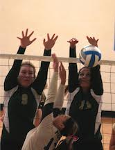 Pontiac Notre Dame Prep's Gabby Shilling (left) and Natalie Risi helped the Irish claim their 19th Class B District title in 23 years Friday with a 3-0 sweep of Macomb Lutheran North.  File Photo | John Fitzgerald